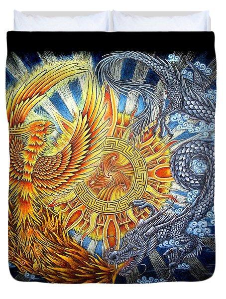 Phoenix And Dragon Duvet Cover