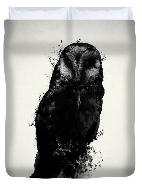 Duvet Cover featuring the mixed media The Owl by Nicklas Gustafsson