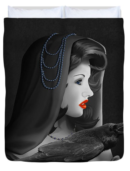 Mystic Woman With Raven Duvet Cover by Monika Juengling