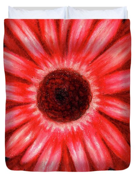 Red Gerbera Daisy Drawing Duvet Cover