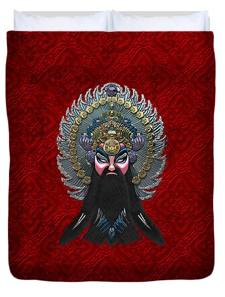 Chinese Masks - Large Masks Series - The Emperor Duvet Cover by Serge Averbukh