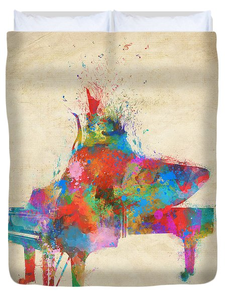Duvet Cover featuring the digital art Music Strikes Fire From The Heart by Nikki Marie Smith