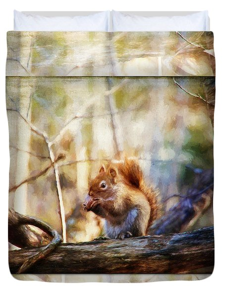 Red Squirrel With Pinecone Duvet Cover