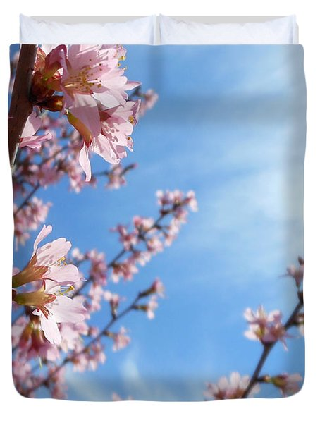 Pink Cherry Blossoms Branching Up To The Sky Duvet Cover