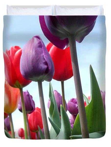 Pink Baby In Tulip Garden Duvet Cover