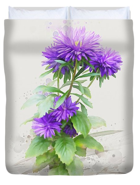Purple Aster Duvet Cover