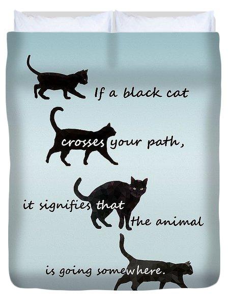 Black Cat Crossing Duvet Cover