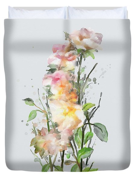 Duvet Cover featuring the painting Wild Roses by Ivana Westin