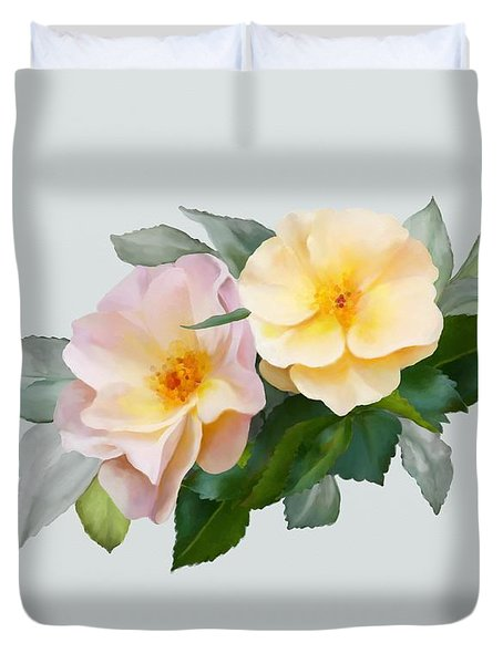 Two Wild Roses Duvet Cover
