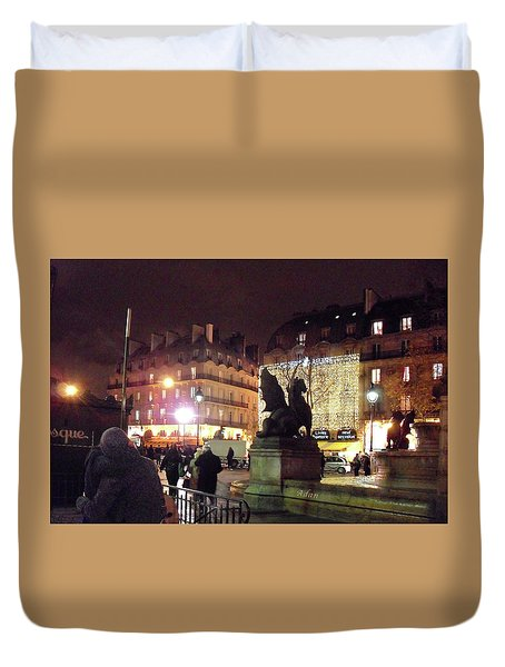 Duvet Cover featuring the photograph Place Saint-michel by Felipe Adan Lerma