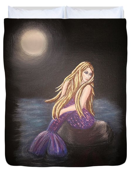 Duvet Cover featuring the painting Midnight Mermaid by Teresa Wing