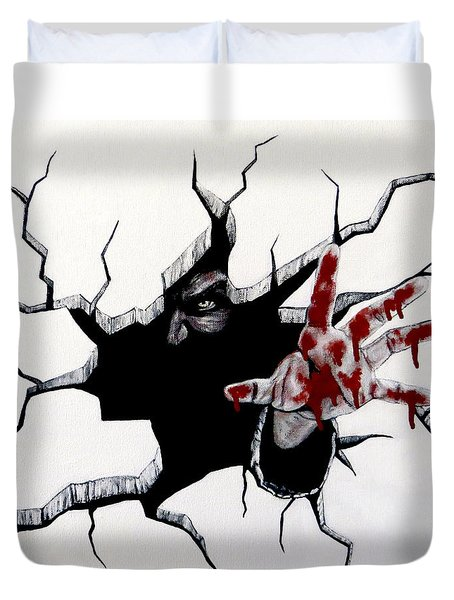 Duvet Cover featuring the painting The Demon Inside by Teresa Wing