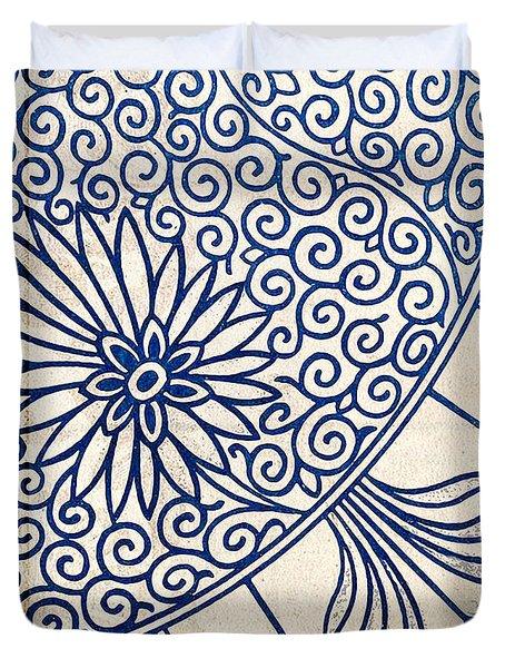 Blue Oriental Vintage Tile 01 Duvet Cover
