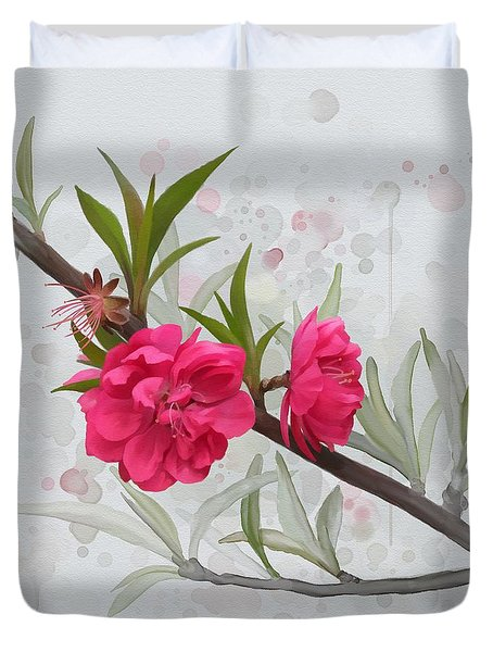 Duvet Cover featuring the painting Hot Pink Blossom by Ivana Westin