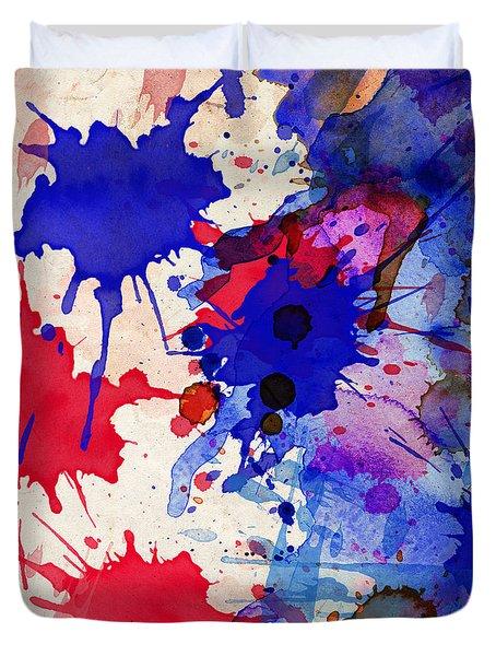 Blue And Red Color Splash Duvet Cover