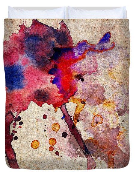 Red Color Splash Duvet Cover