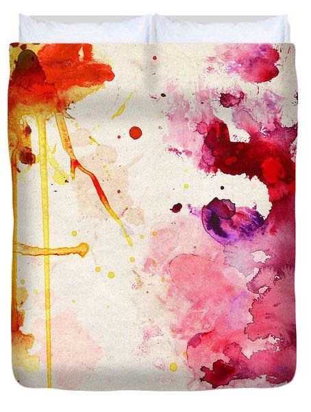Fuchsia And Orange Color Splash Duvet Cover