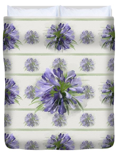 Blue Purple Flowers Duvet Cover