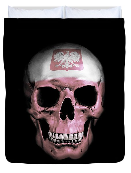 Duvet Cover featuring the digital art Polish Skull by Nicklas Gustafsson