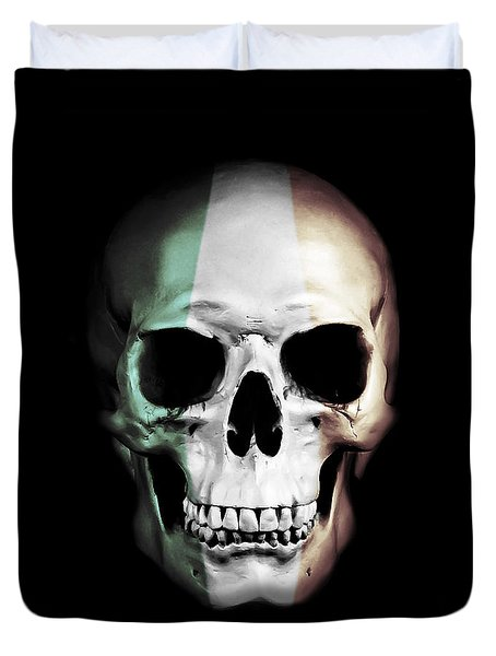 Duvet Cover featuring the digital art Irish Skull by Nicklas Gustafsson