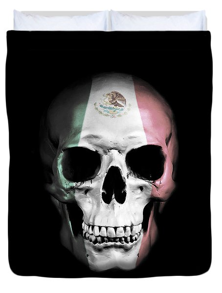 Duvet Cover featuring the digital art Mexican Skull by Nicklas Gustafsson