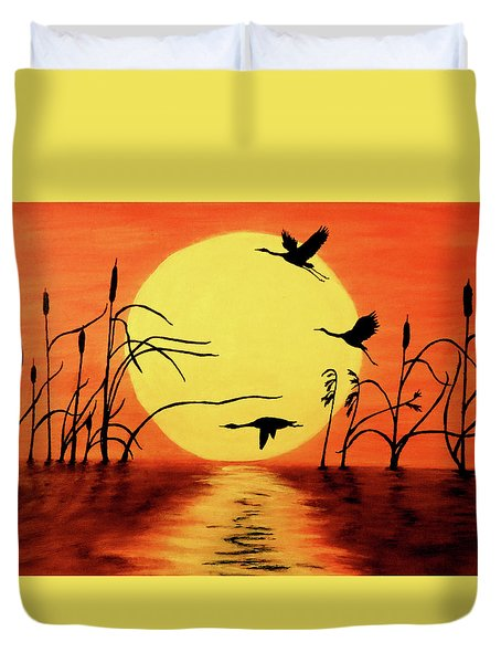 Sunset Geese Duvet Cover by Teresa Wing