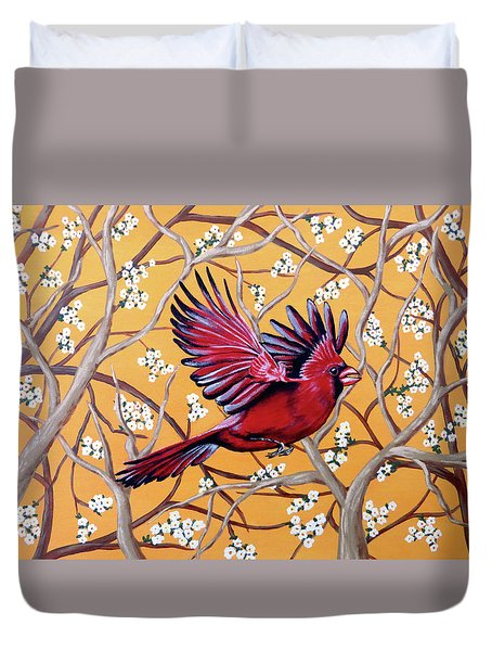 Duvet Cover featuring the painting Cardinal In Flight by Teresa Wing