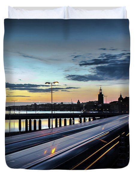 Duvet Cover featuring the photograph Stockholm Night - Slussen by Nicklas Gustafsson