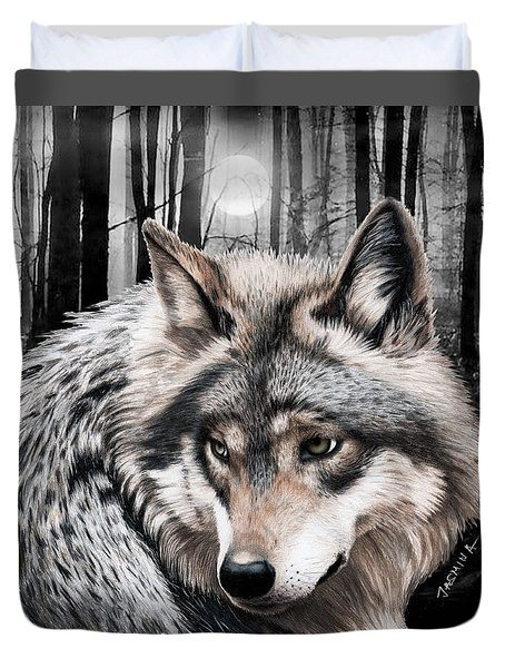 A Grey Wolf  Duvet Cover by Jasmina Susak