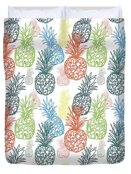 Happy Pineapple- Art By Linda Woods Duvet Cover