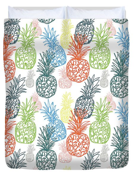 Happy Pineapple- Art By Linda Woods Duvet Cover by Linda Woods