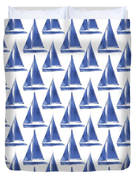 Duvet Cover featuring the digital art Blue And White Sailboats Pattern- Art By Linda Woods by Linda Woods