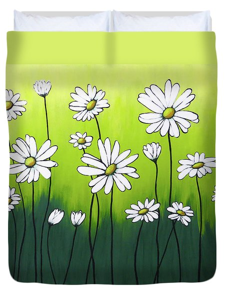 Duvet Cover featuring the painting Daisy Crazy by Teresa Wing