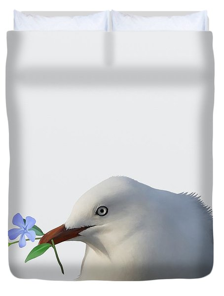 Duvet Cover featuring the painting Seagull by Ivana Westin