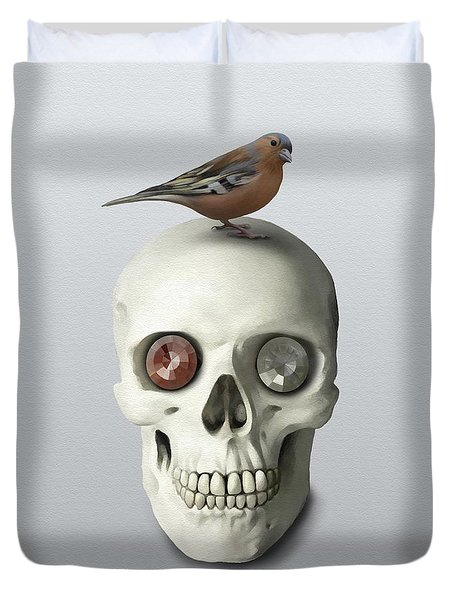 Skull And Bird Duvet Cover