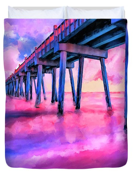 In The Pink On Pensacola Beach Duvet Cover by Mark Tisdale