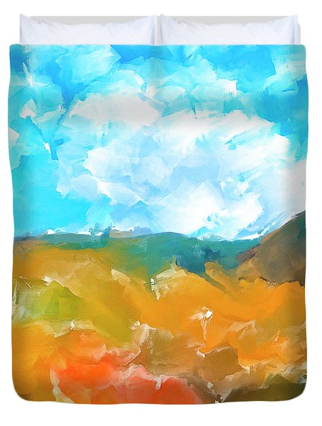 Duvet Cover featuring the mixed media In The Valleys by Mark Tisdale