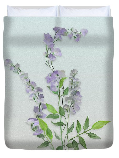 Purple Tiny Flowers Duvet Cover by Ivana Westin