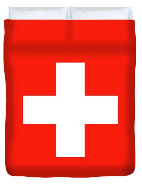 Duvet Cover featuring the digital art Flag Of Switzerland by Bruce Stanfield