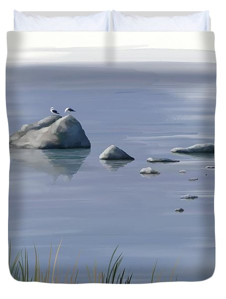 Duvet Cover featuring the painting Gull Siesta by Ivana Westin