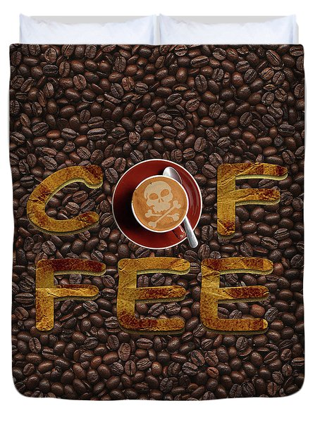 Duvet Cover featuring the painting Coffee Funny Typography by Georgeta Blanaru
