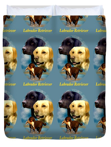 Labrador Retriever With Name Logo Duvet Cover