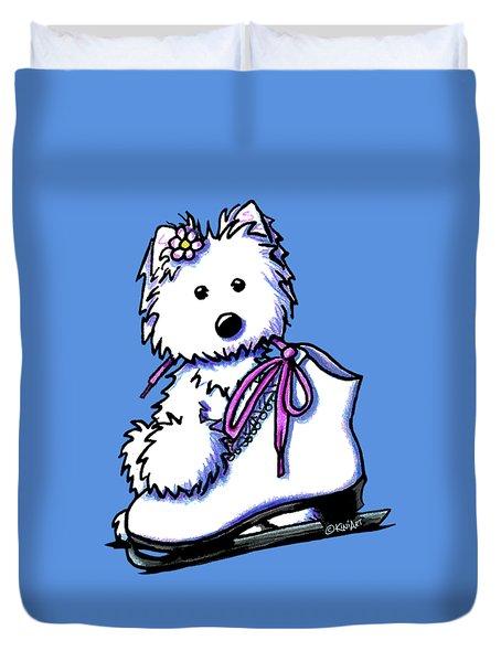 Westie Skater Girl Duvet Cover by Kim Niles