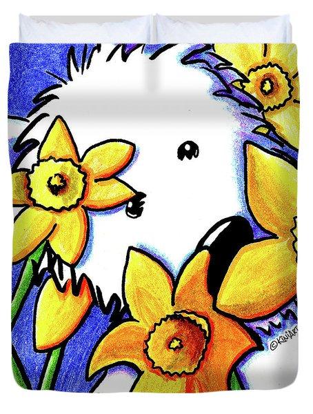 Kiniart Westie Daffodils Duvet Cover by Kim Niles