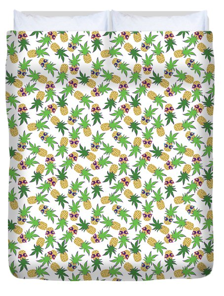 Duvet Cover featuring the digital art Summer Pineapples Wearing Retro Sunglasses by MM Anderson