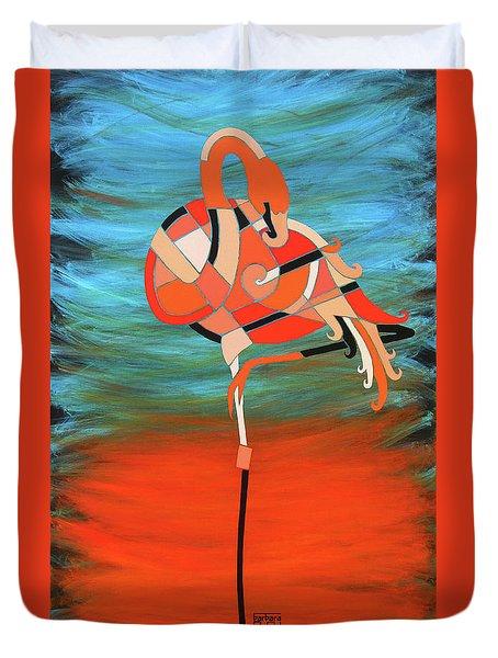 An Elegant Flamingo Duvet Cover