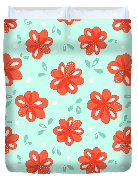 Cheerful Red Flowers Duvet Cover