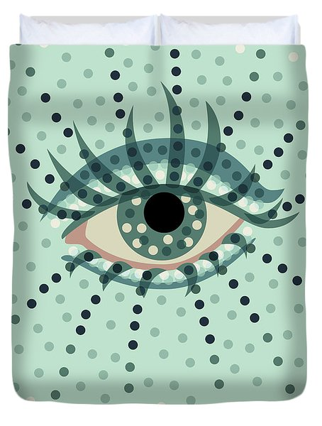 Beautiful Abstract Dotted Blue Eye Duvet Cover