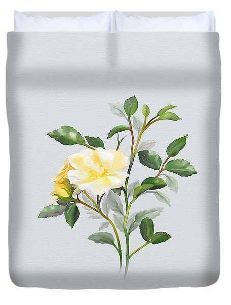 Yellow Watercolor Rose Duvet Cover