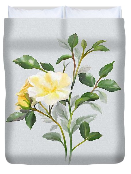 Yellow Watercolor Rose Duvet Cover